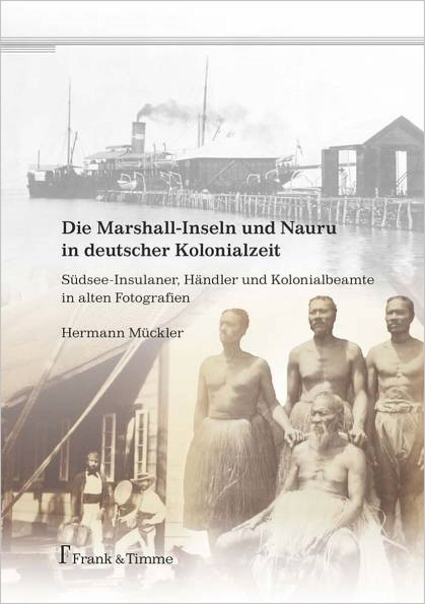 Cover of the book. Old photograph of a group of native islanders and an other old photograph of a steamboat an a jetty.