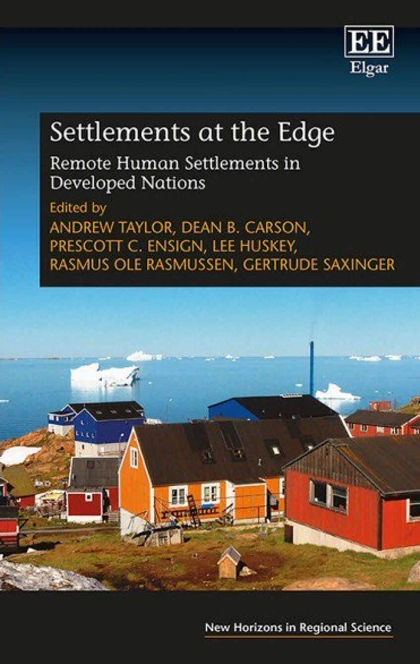 Cover of the Book. A Nordic Landscape with houses and the sea in the background with ice on it.